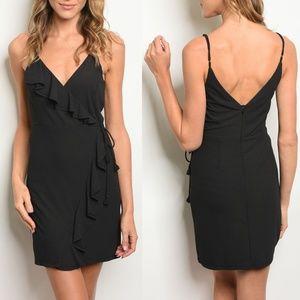 Black Faux Wrap Dress {Essue}